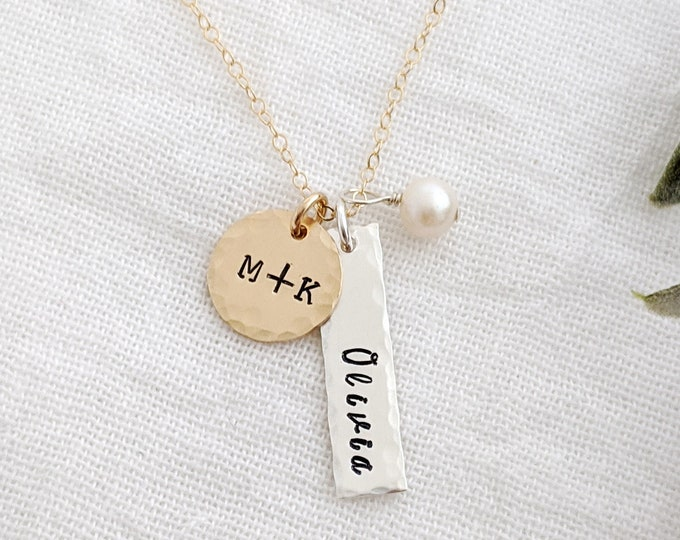 Mixed Metal Necklace, Personalized Charms, Hand Stamped Necklace, Gold fill, Sterling Silver, Gift for Her