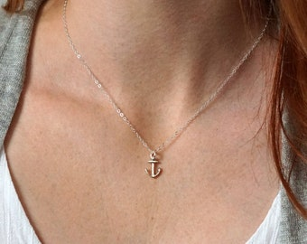 Tiny Silver Anchor Necklace, Anchor Charm, Ocean Jewelry