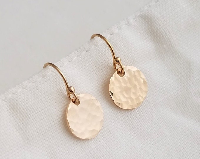 Tiny Gold Disc Earrings, Dainty Earrings, Gold or Silver, Everyday Earrings, Bridesmaids Gifts