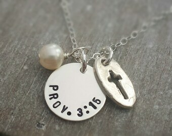 Personalized Necklace, Bible Verse, Personalized charm, Hand Stamped Jewelry, Cross Charm
