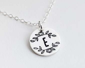 Botanical Jewelry, Floral Stamped Necklace, Silver Disc Initial Necklace