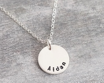 Tiny Personalized Name Necklace, Small Pendant Necklace, Personalized Necklace, Sterling Silver, Layering Necklace, Jewelry, Gift for Her
