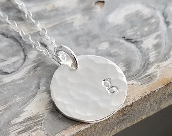 Minimal Initial Necklace, Personalized Circle Tag, Engraved Disc