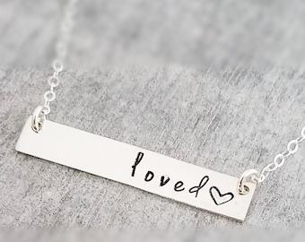 Valentines Gift, Loved Necklace, Sterling Bar Necklace, Sterling Silver, Necklace, Jewelry, Gift Idea