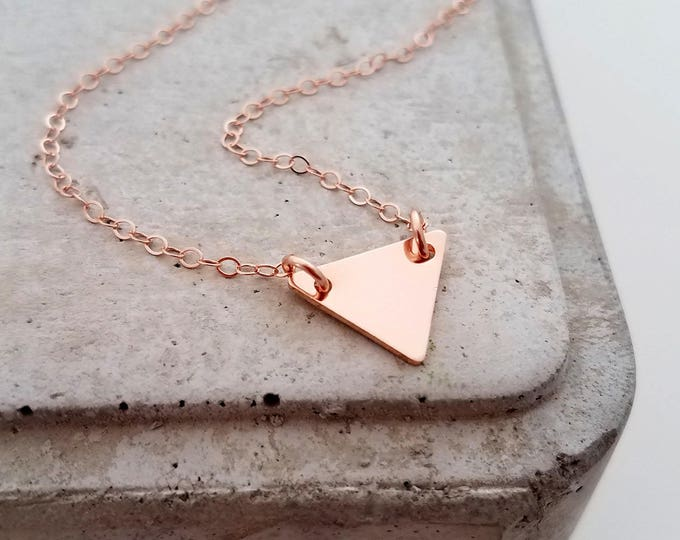 Tiny Triangle Necklace, Simple Layering Necklace, Rose Gold, Minimal Jewelry, Initial Necklace RG1112