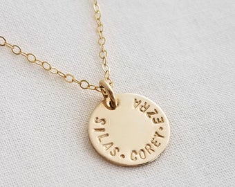 Mini Name Necklace, Custom Name Charm, Gold Discs With Names, Hand Stamped Jewelry, Gift Idea, The Stamped Life