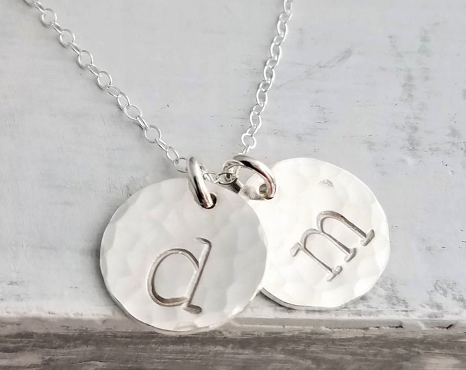Silver Initial Necklace, Personalized Jewelry, Hand Stamped charms, Initial Necklace, Initial Charms, Hammered Charms, Jewelry, Gift Idea