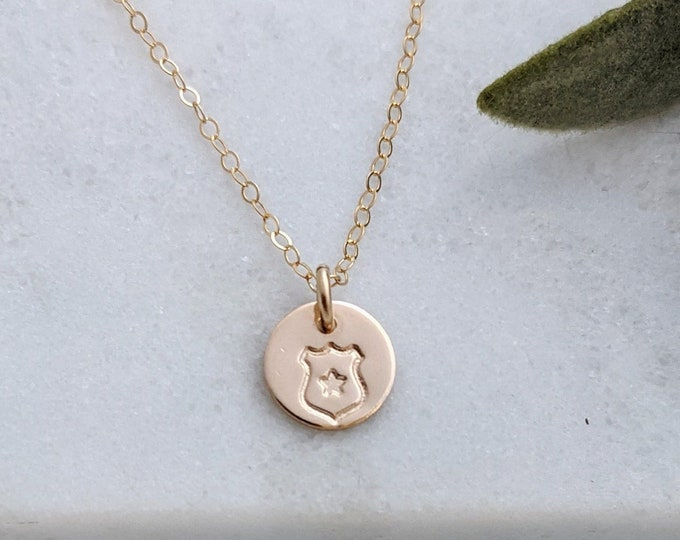 Police Badge Necklace, Police Wife Gift, Tiny Gold Charm
