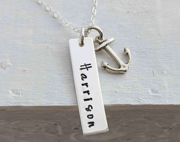 Custom Name Necklace, Anchor Charm Necklace, Vertical Bar Necklace, Nautical Jewelry