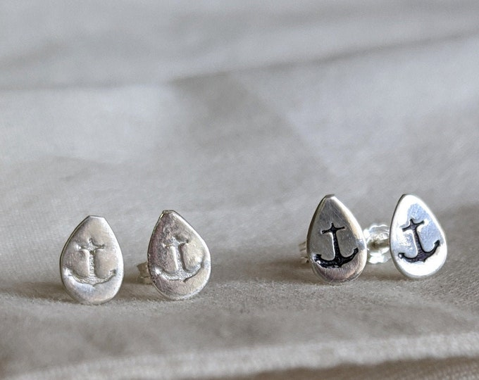 Anchor Earrings, Sterling Silver, Nautical Jewelry