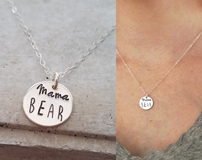 Mama Bear Necklace, Sterling Silver Charm Necklace, Hand Stamped, Baby Shower Gift