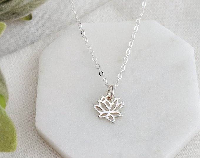 Lotus Flower Necklace, Lotus Charm, Lotus Jewelry, Yoga Necklace, Yoga Jewelry, Gift Idea