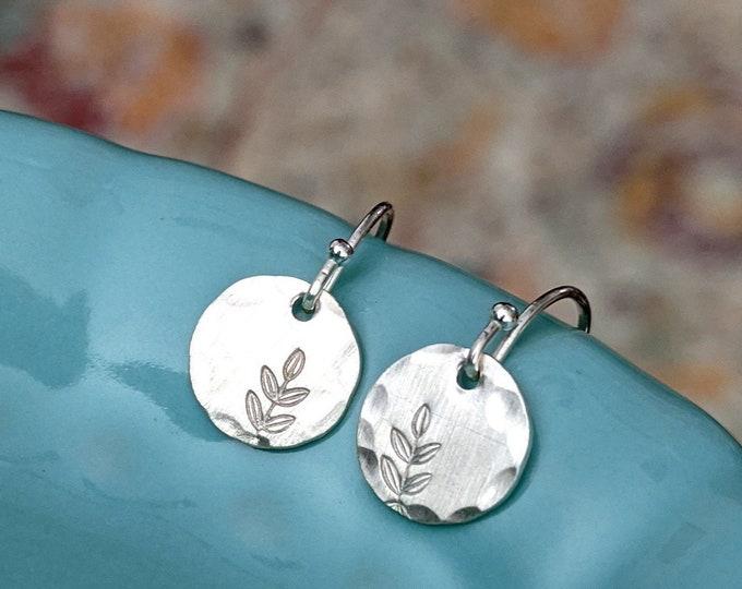Silver Leaf Earrings, Botanical Jewelry, Botanical Earrings, Gift Idea