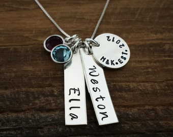 Personalized Name Necklace, Two Names, Sterling Silver, Hand Stamped, Birthstone Necklace, Mothers Necklace