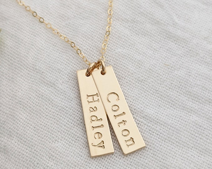 Gift for Her, Personalized Gold Tag Necklace, Custom Name Necklace, Gold Fill, Gift Idea