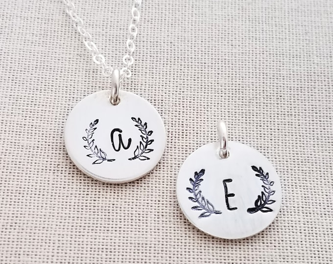 Modern Initial Necklace, Personalized Jewelry, Wreath Jewelry, Bridesmaid Necklace, Rustic Wedding, Gift Idea, The Stamped Life