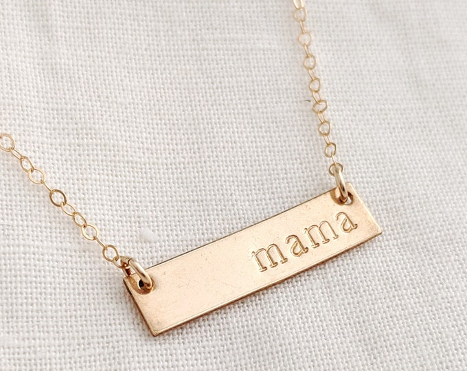 Gold Mom Necklace, Gold Bar, Dainty Necklace, Gift for Her