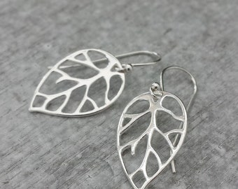 Leaf Earrings, Sterling Silver, Botanical Earrings, Bridesmaids gifts