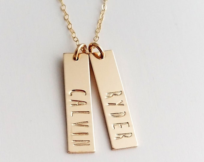 Personalized Gold Necklace, Custom Name Necklace, Name Charm Necklace, Gold Bar Name Necklace, Gift for Her, Gift Idea