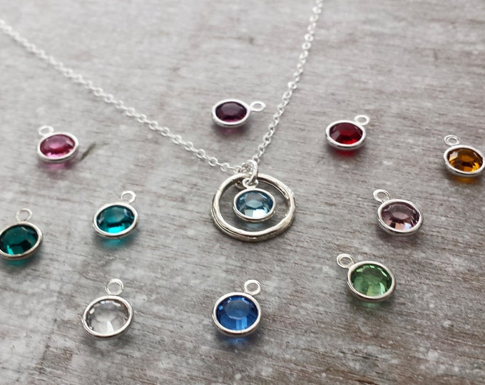 Circle Birthstone Necklace, Personalized jewelry, Birthstone Jewelry, Gift Idea