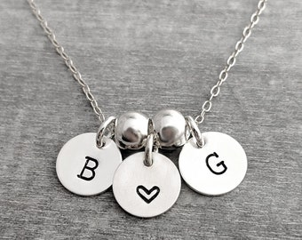 Tiny Initial Charms with Spacer Beads, Initial Necklace, Letter Charms, Gifts For Mom, Monogram Necklace, Sterling Silver