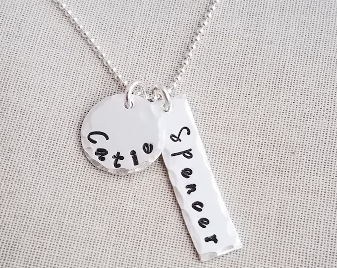 Personalized Name Necklace, Hand Stamped Jewelry, Sterling Silver, Personalized Charm Necklace, Mom Necklace, Bar Charm Necklace