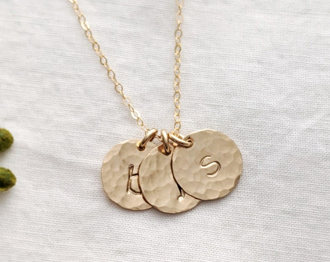 Gold Initial Necklace, Personalized Jewelry, Hammered Disc, Initial Necklace, Initial Charms, Gift Idea