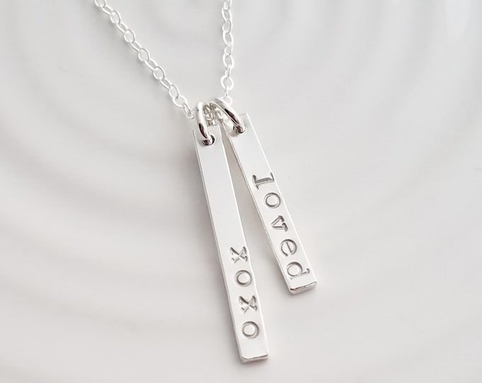 Vertical Bar Charm Necklace, Personalized Tags, Custom Name Bars, Silver Name Necklace, Gift Idea, Gift for her
