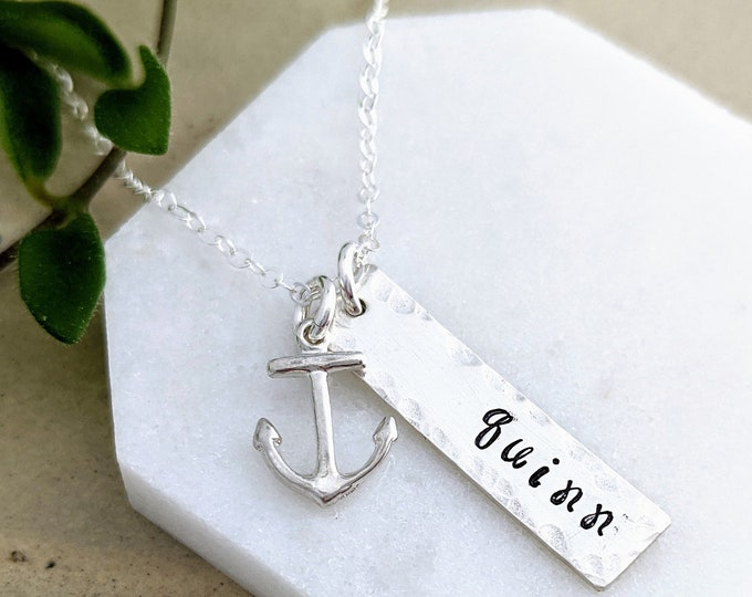 Anchor Name Necklace, Ocean Necklace, Personalized Jewelry, Navy Wife