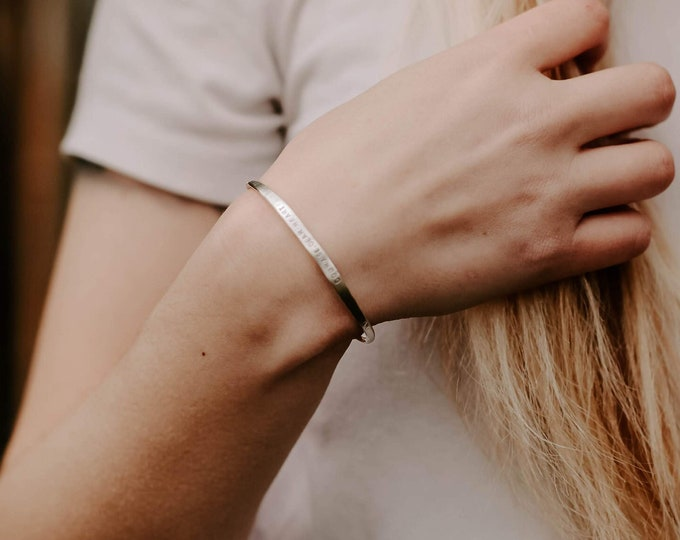 Silver Cuff Bracelet- Personalized Bracelet- Hand Stamped Jewelry- Solid Sterling Silver- Gift for Her