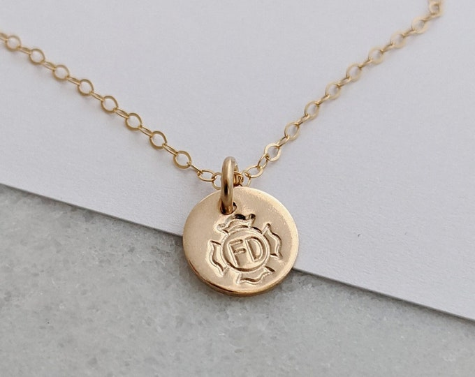 Firefighter Necklace, Maltese Cross, Firefighter Wife Gift, Tiny Gold Charm