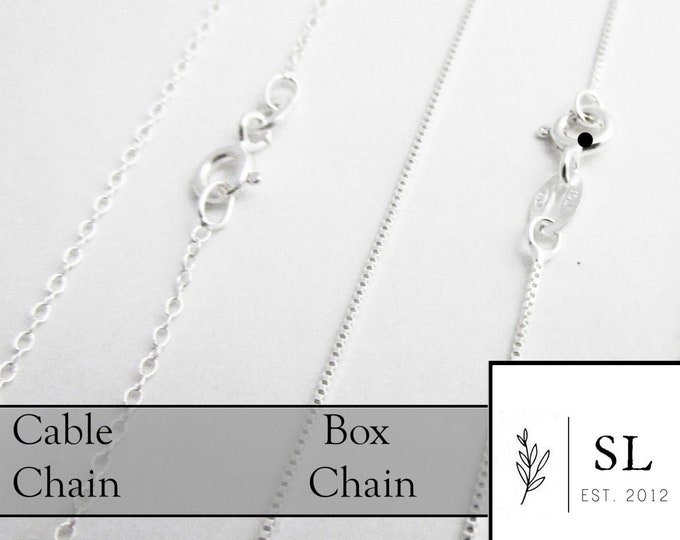 Sterling Silver Chain, Your Choice of Style and Length, Jewelry Supplies, Cable Chain, Box Chain