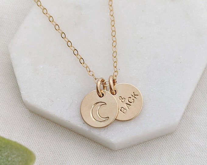 I Love You To The Moon and Back Necklace, Dainty Gold Necklace, Gift For Her