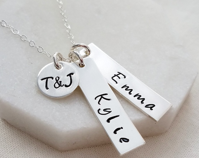 Personalized Name Necklace, Sterling Silver Hand Stamped Name Necklace, Two Name Tags, Initial Charm, Gift for Mom, Personalized Jewelry