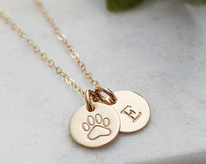 Tiny Paw Print and Initial Charm, Personalized Paw Print Necklace, Pet Lover Gift, Personalized Gift Idea