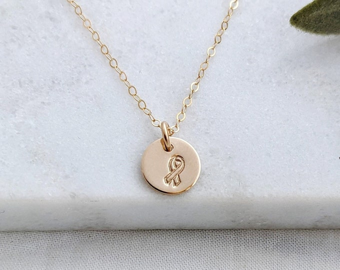 Awareness Ribbon Necklace, Sterling Silver or 14k gold fill, Tiny Disc Necklace