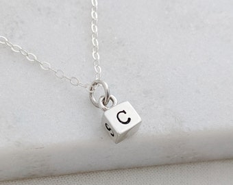 Cube Necklace, Four Sided Charm, Personalized Sterling Silver Charm with Initials, The Stamped Life