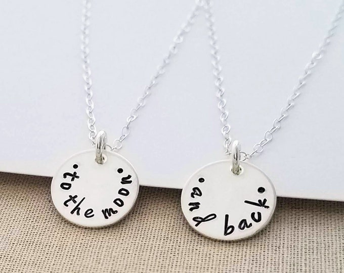 To The Moon and Back Necklace Set, Best Friends, Mother Daughter, Sister Gift Idea, Hand Stamped Jewelry, I love you to the moon and back
