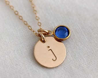 Gold Initial Necklace with Birthstone, Custom Initial Charm, Personalized Jewelry, Gift for Her, Gift Idea