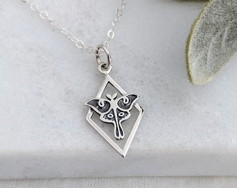 Silver Luna Moth Necklace, Nature Charm, Sterling Silver, Moth Lover, Mystical Necklace