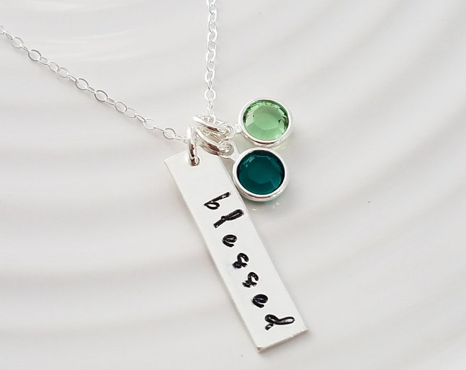 Blessed Necklace, Custom Birthstone Necklace, Gift for Mom, Gift Idea, Grandma, Nana, Mom, Mother Necklace, Personalized Necklace