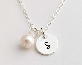 Tiny Initial Necklace, Sterling Silver Initial Charms, Personalized Jewelry, Birthday Necklace