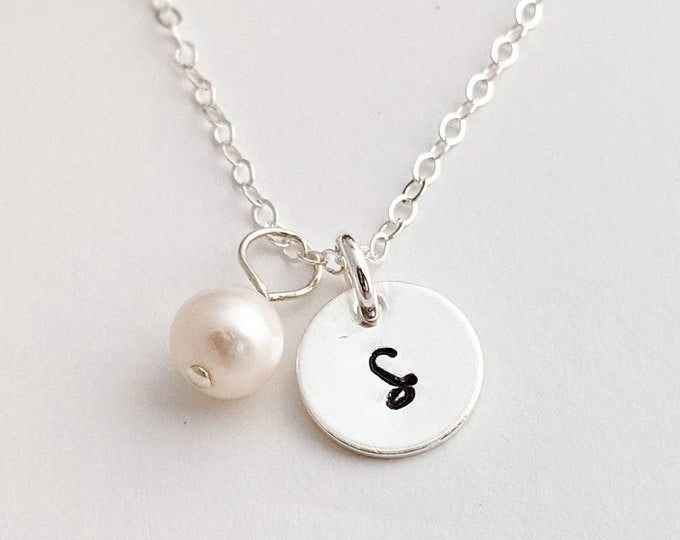 Tiny Initial Disc, Sterling Silver, Personalized Initial Necklace, Custom Initial Jewelry, Gift Idea