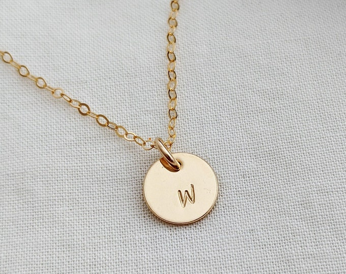 Tiny Gold Initial Necklace, Personalized Initial Charm, Layering necklace, Initial Gift Idea, Jewelry