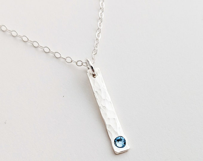 Vertical Bar Necklace with Birthstone, Minimal Birthstone Necklace, Modern Personalized Jewelry, Gift for Mom, Gift Idea