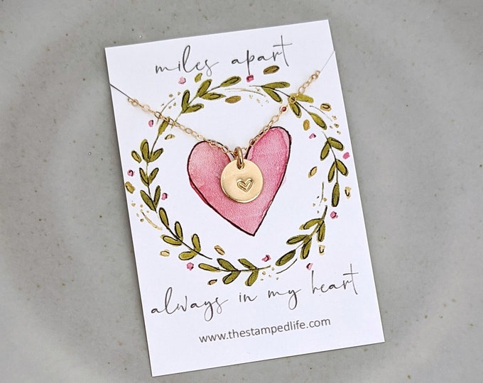 Long Distance Friendship Necklace, Long Distance Gift, Miles Apart Always in my Heart, Gold heart Necklace