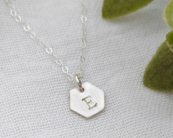 Tiny Hexagon Initial Necklace, Hand Stamped Personalized Initial Necklace, Dainty Jewelry, Simple
