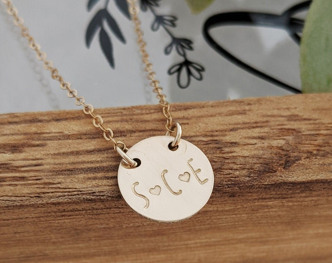 Gold Initial necklace, 14k Gold Fill, Name Necklace, Hand Stamped Necklace, Gold Charm necklace, Personalized Jewelry, Gift for Her