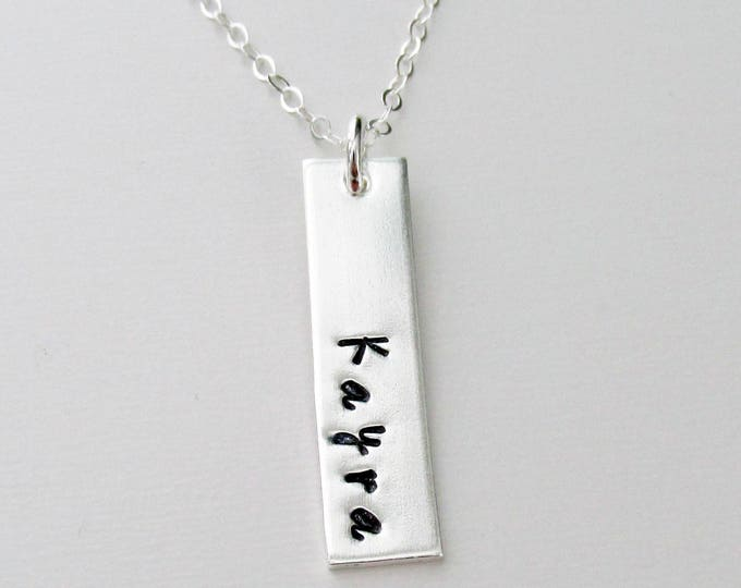 Personalized Vertical Bar Necklace, Custom Name Necklace, Personalized Nameplate Necklace, Sterling Silver, Personalized Gifts for Women