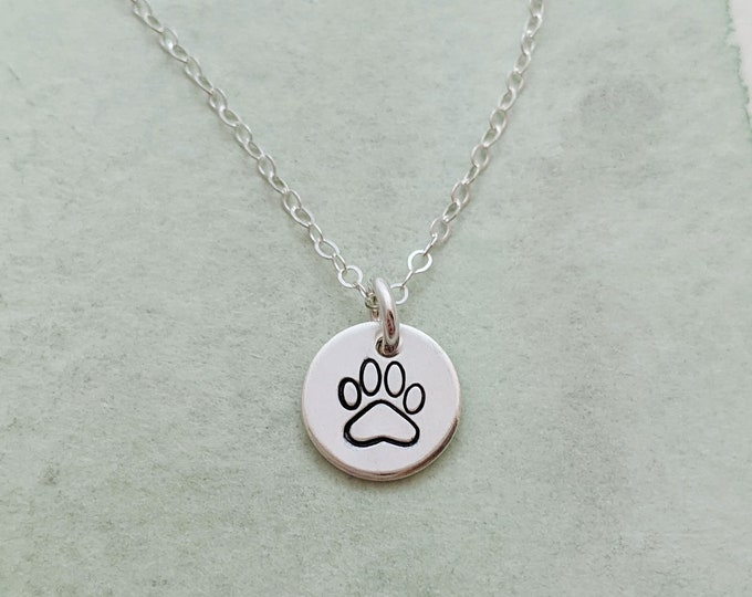 Tiny Paw Print Charm, Paw Print Necklace, Pet Lover Gift, Dainty Necklace, Gift for Her, Gold or Silver